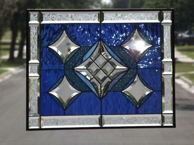 "• The STAR'S  •Beveled Stained Glass Window Panel • 24 ½""x 18 ½"""