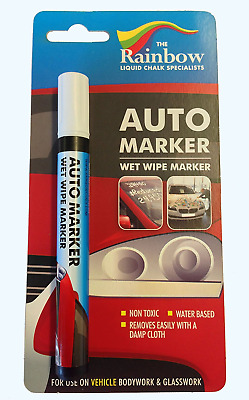 White Auto Marker - Removable Paint For Body Panels And Windscreens