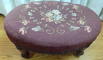Oblong  Stool  With Burgundy Needlepoint Quilting & Nailheads