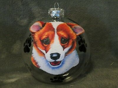 "Hand Made Corgi Puppy Dog 4"" Glass Christmas Ornament/ball"