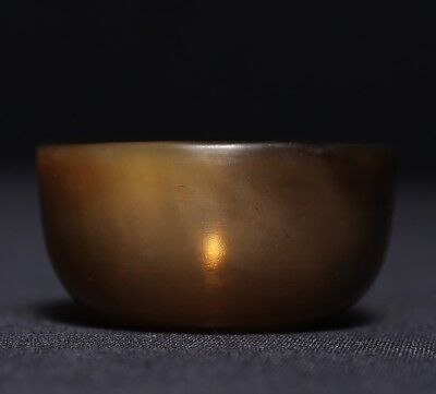 Spectacular Unique Old Chinese Ox Horn Carving Cup Private Collection US364