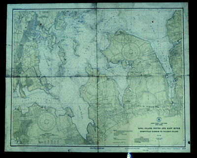 Antique 1928 Nautical Chart, Eastern Long Island Sound NY