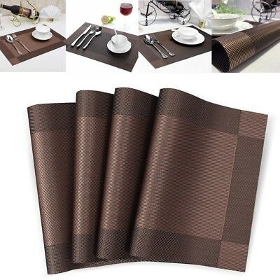 20pcs Kitchen Table Mats Placemats Heat-resistant Insulation Washable PVC Pads