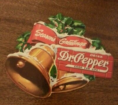 """Fan Pull Dr. Pepper Season's Greetings 1940 Excellent Never used 6""""x5"""" vintage"""