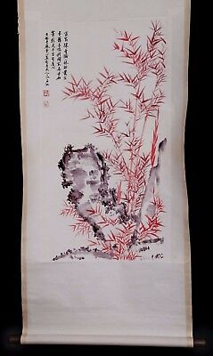 Vintage Old Chinese Scroll Hand Painting Bamboo Stone Collection Marked KK817