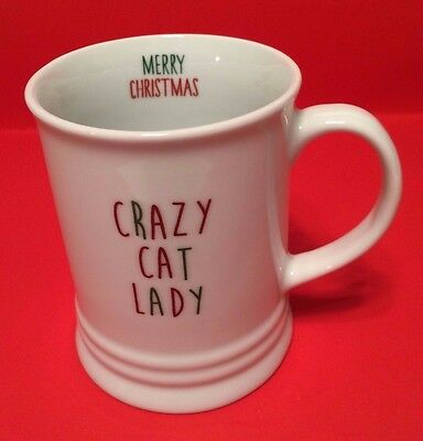 Fringe Crazy Cat Lady Christmas Mug - Holds 12 ounce - White - Cat Lover NWOT