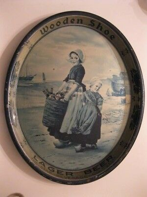 Wooden Shoe 1930's Oval Beer Tray with Young Girls