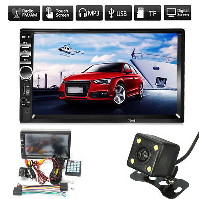 Double 7'' 2 Din Touch Car Stereo FM Radio MP5 Player Head Unit Bluetooth+Camera