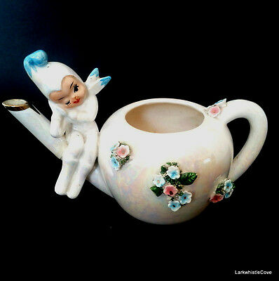 Lefton Hand Painted ESD Pixieware Teapot Tea For One Pixie Figure 2380 c.1950s