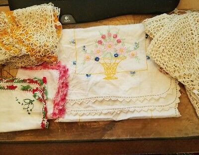 Antique Vintage Arts & Crafts Hand Embroidered Table Runner and other items