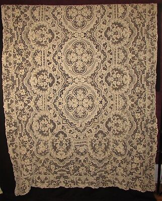 NEEDLE LACE TABLECLOTH, 128 x 70, EIGHT COORDINATING NAPKINS