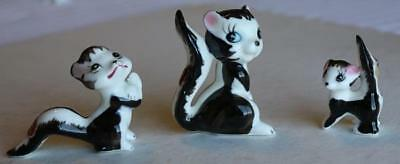 Set of 3 Skunk Family Bone China Figurines-All 3 With Labels-Made in Japan-CUTE