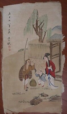 Exquisite Rare Old Chinese Figure Paper Hand Painting Mark MaYuanYu PP848
