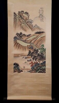 Exquisite Large Rare Chinese Landscape Scroll Hand Painting Marks WangYun KK142