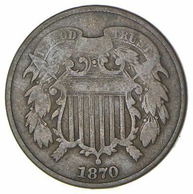 Better Date 1870 US TWO Cent Piece - First Coin with In God We Trust Motto *018