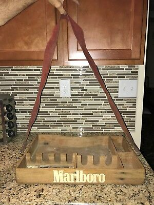 Rare Marlboro Tobacco Cigarettes Advertising WOODEN CARRYING TRAY / BOX   NEAT!!
