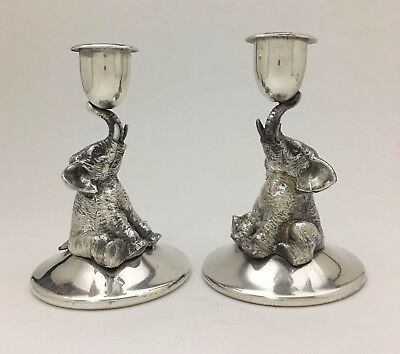 Lovely Antique Pair of Figural Silver Plated Circus Baby Elephant Candlesticks