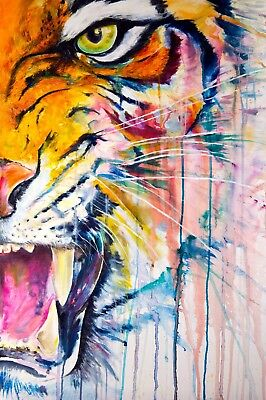 Tiger Face Abstract Art Animal Nature quality Canvas Print Home Decor Wall