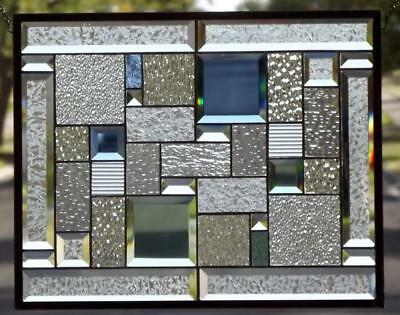 """OPPOSITE ATTRACTION"" Beveled Stained Glass Window Pane-l20 1/2"" x 16 1/2"""