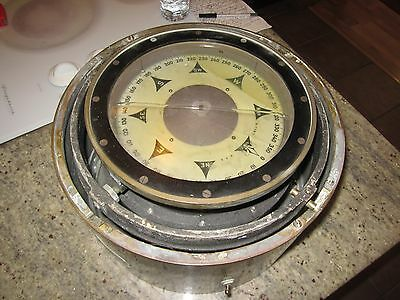 "HUGE antique US Navy compass binnicale Ritchie lighted 13"" X 43lb brass maritime"