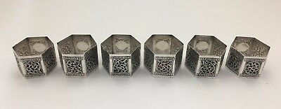 6 PCS Fine Persian Middle Eastern Asian Hand Chased Hexagonal Napkin Rings 5 TOZ