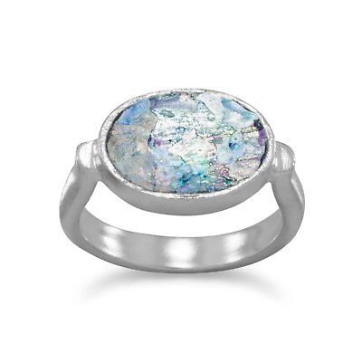 """""""GOING FAST"""" Ancient Roman Glass Ring with Hammered Band .925 Sterling Silver"""