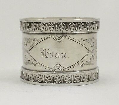"""Beautif Bright Cut Engraved Antique Victorian Sterling Silver Napkin Ring """"Evan"""""""