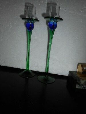 Murano? Glass Candle Stick Holders - Blue/green
