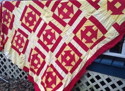 Vtg Primitive Bold Graphic Quilt Top, Hand Sewn, Red And Yellows, Amish Style!
