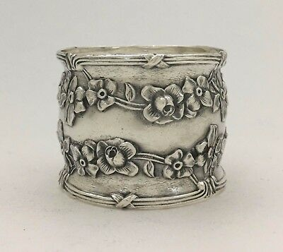 Lovely Antique Sterling Silver Napkin Ring W/ Floral Garlands & Ribbon Borders