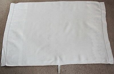 Vintage white Huckaback tea towel/cloth with embossed tulip design on edges.