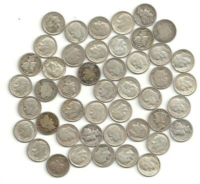 Silver Dimes 46 coins in the Lot including: Mercury, Barber, Roosevelt