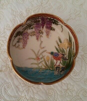 Sweet signed Japanese Satsuma bowl kingfisher and wisteria with stand