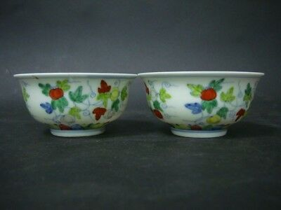 """A Pair of Rare Old Chinese """"DouCai"""" Painting Porcelain Bowls Marked ChengHua"""