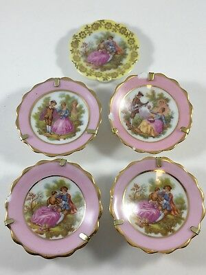 Vintage Limoges Miniature Porcelain Plates - Fragonard Scene - Set of 5