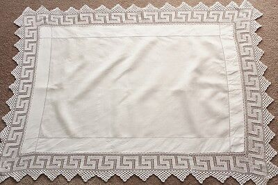 "Vintage white linen table top cloth with 10cm (4"") crochet border."