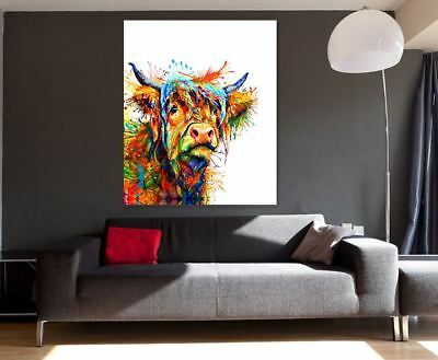 Cow  Abstract Art Animal Nature quality Canvas Print Home Decor Wall