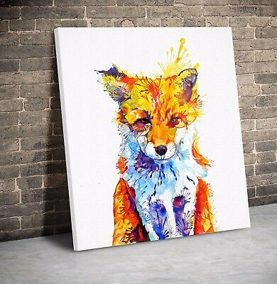 Fox  Abstract Art Animal Nature quality Canvas Print Home Decor Wall