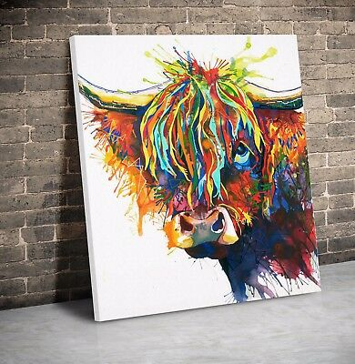 Cow Face Abstract Art Animal Nature quality Canvas Print Home Decor Wall