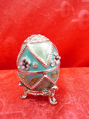 Noble Decorative Egg __ covered dish __ METAL WITH REAL SWAROVSKI STONES__