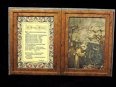 Catholic Florentine Holy Icon diptych St. Francis of Assisi with His Prayer