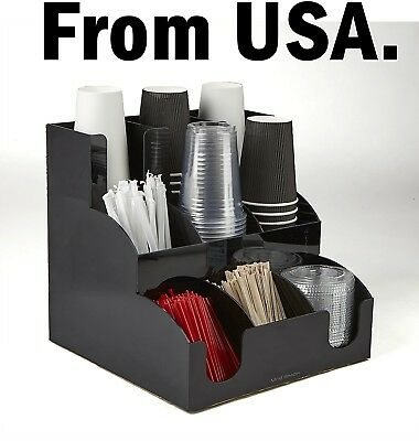 Coffee Lid Cup Dispenser Condiment Breakroom Office Caddy Straws Holder Maker US