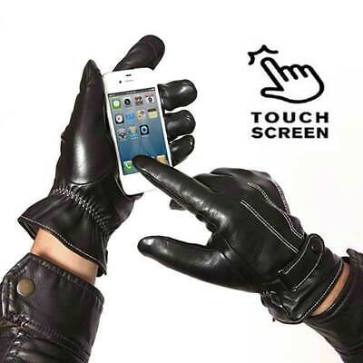 Men's Leather Touch Screen Gloves Cycling Driving Riding Winter Thermal Black