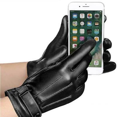 Large Size Women Leather Touch Screen Driving Gloves Mitten Winter Thermal Black