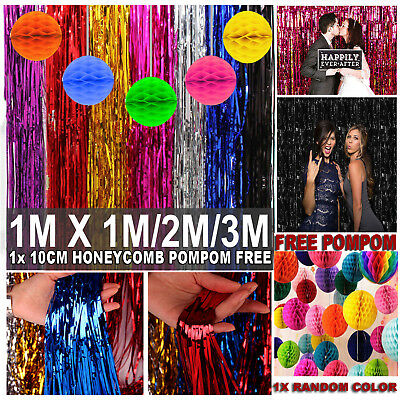 1/2/3/4M Metallic Tinsel Curtain Foil Backdrop Wedding Birthday Party + POMPOM
