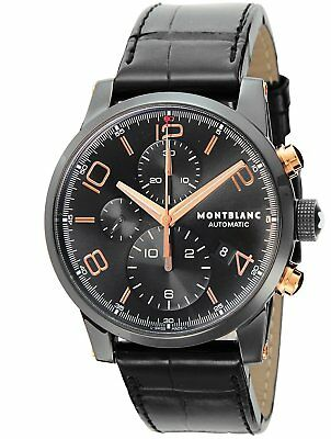 99f9ade67 MONTBLANC TIME WALKER Automatic Black Dial Men's Watch Leather Band 105805