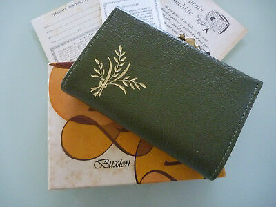 UNUSED Vintage BUXTON OLIVE GREEN Leather HIDE Purse Wallet in BOX Wty CARDS