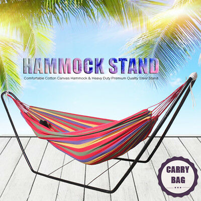 Double Hammock With Steel frame Stand Swinging Camping Outdoor Red Stripe AU