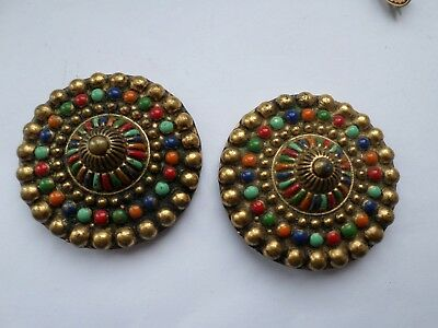 2 large early 20th century colourful buttons  4.5 cm diameter