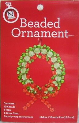 Beaded Wreath Christmas Ornament Craft Kit - Make Your Own Holiday Decoration!